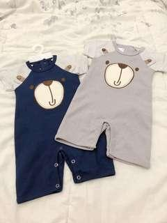 Teddy set jumper setelan anak playsuit