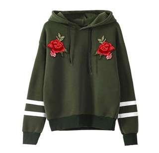 Embroidery Long Sleeve Fleece Hoodie sweater