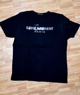 Kaos Saint Laurent YSL Black Score bukan vans Gucci stussy