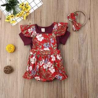 🚚 🍅CNY PO🍅 3 pcs Red Floral Jumpsuit (Shirt + Jumpsuit + headband)