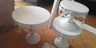 For rent white european cake stand