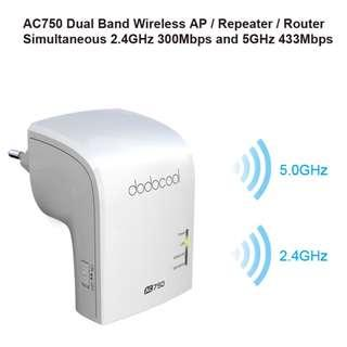 Dodocool AC750 Band Wireless Wi-Fi AP / Repeater / Router DC24 AC 750 - 802.11ac 2.4GHz 300Mbps and 5GHz 433Mbps