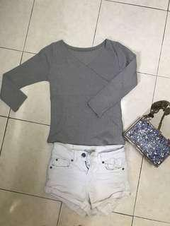 Grey Crop Top with 3 quarter Sleeves