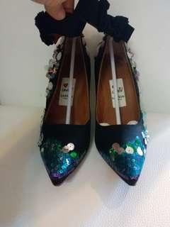 Lanvin 全新4吋晚裝珠片高跟鞋37,38碼和一對