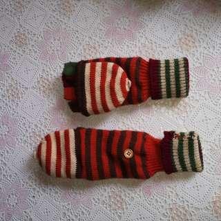 Fingerless knitted gloves mittens