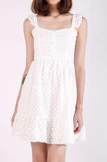 Kissablebella Rabelle Eyelet Button Dress (White)