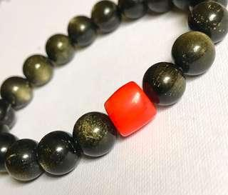 Obsidian Gold Sheen & Red Coral