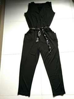 ⚡SALE🔛[BN] Black Long Romper/Jumpsuit w/ belt