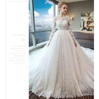 Pre order white long sleeve off shoulder fishtail Wedding bridal prom dress gown plus size  RB0896