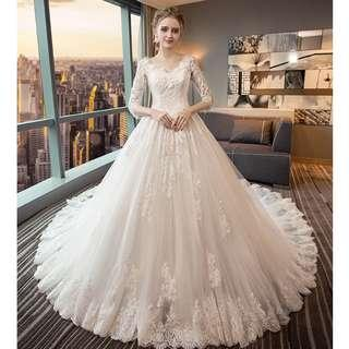 Pre order white long sleeve off shoulder fishtail Wedding bridal prom dress gown plus size  RB0897