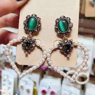 <free pos 3 pairs & above> Korean design love heart shape earrings