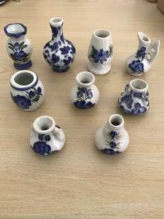 Vintage Miniature Porcelain Vases (Set of 9)