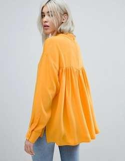 Weekday High Neck Pleat Back Chiffon Blouse, Orange / Yellow (Blus Plisket Oranye / Kuning)