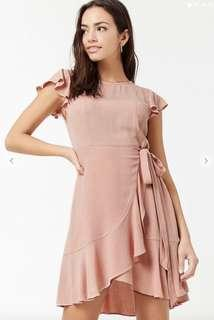 🚚 Forever 21 Flounce Mo k Ruffle Wrap Dress Blush Pink