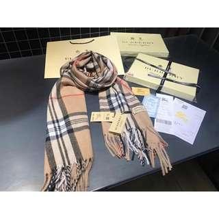 Burberry 經典格紋圍巾 羊絨圍巾 披肩 脖圍