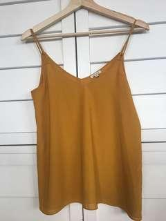 Women's mustard silky top