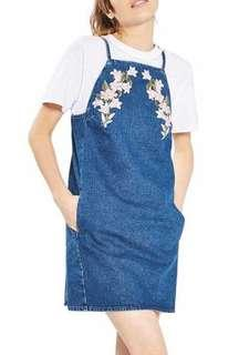 Topshop Tulip Embroidered Pinafore Dress