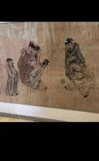 {Collectibles Item - Ink Painting} 清朝古画 Qing Dynasty Chinese Ancient Ink Painting On Paper On Frame -【蹴鞠圖】 框画長4尺2寸(128cm) 寛2尺9寸(83cm)  - 黄慎【1687年-1772年】,初名盛,字恭壽、恭懋,号癭瓢子,東海布衣等,福建寧化人,清代畫家。为揚州八怪之一。