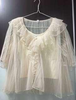 JAPAN 🇯🇵 Woman Lace Top 喱士上衣(連打底背心仔;可分開穿)日本 Free Size
