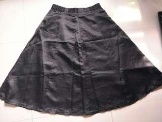 ⚡SALE🔛Black Silk Long Flare Skirt