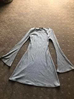 Misguided grey flare sleeve dress
