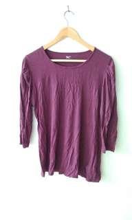 GAP Women Purple Shirt Kaos wanita warna ungu lengan balon