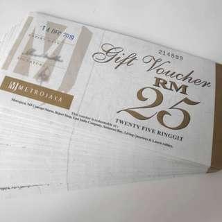 Metrojaya Cash Vouchers RM500 for only RM450!!
