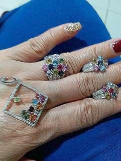 18K 白金彩晶鑽石套裝