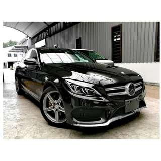 2015 UNREG MERCEDES BENZ C200 2.0 AMG LINE ((( 3 YEAR WARRANTY ))) JAPAN SPEC ( AIRMATIC , HEAD UP DISPLAY , POWER TRUNK , BOTH ELECTRIC MEMORY SEAT )