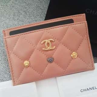 Authentic Brand New Chanel Beige Embellished Cardholder