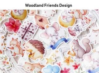 🚚 Woodland Friends Design Flake Stickers