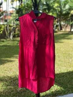 Bright Pink Sleevless Button Down Top/Shirt