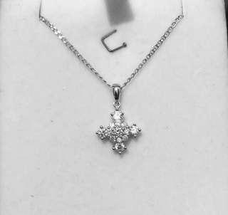 18K 750 白金 鑽石 48份 頸鏈 diamond cross pandent