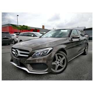 2015 UNREG MERCEDES BENZ C200 2.0 AMG ((( 3 YEAR WARRANTY ))) JAPAN SPEC ( AIRMATIC , HEAD UP DISPLAY , POWER TRUNK ))) RED ARTICO LEATHER