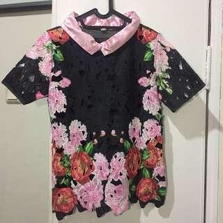 Black-Pink Floral Blouse