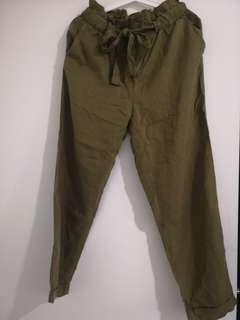 Mango Casual pants in army green
