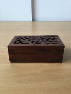 Hand Carved Wooden Jewellery Trinket Box