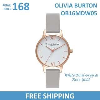 🚚 Olivia Burton Ladies Watch White Dial Grey & Rose Gold OB16MDW05
