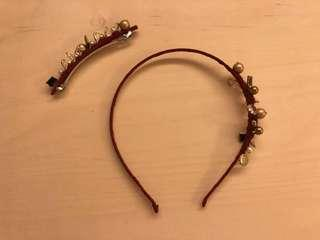韓國手工製 頭箍連髮夾 一套兩件 酒紅色 Korean handmade hairband hair clip