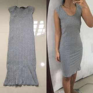 Ribbbed Gray Dress