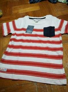🚚 Pumpkin Patch Fiery Red Striped 12 - 18 Months Short Sleeve Top with Suede Trim