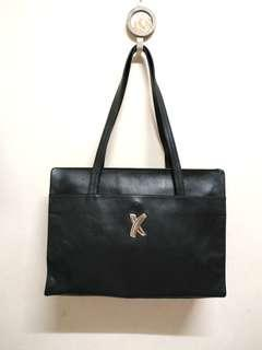 Authentic Paloma Picasso Black Genuine Leather Large Tote Bag. Made ln ltaly