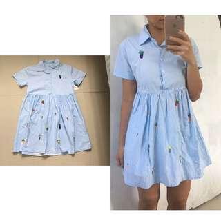 Crocheted Blue Polo Dress