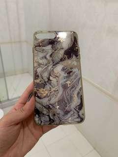 Iphone 8+ black marble case