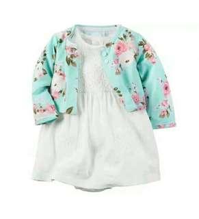 🚚 6m女寶短袖全棉連衣裙新生嬰兒長袖純棉開衫公主2件套裝