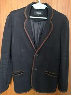 日本牌子shopzoom棉西服西裝褸外套夾克皮邊jacket sport coat blazer M size