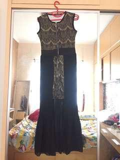Dress pesta sleeveless gaun malam gold shimering glitter zipper busui plisket import