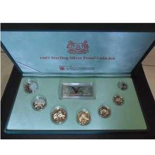 1997 Singapore Silver Proof Coin Set (1¢ - $5 Coin)