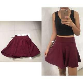 Maroon Skater Skirt- Cotton