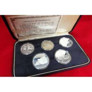 1986 Korea Seoul Asian Games 90% Silver Proof Coin Set 1k & 2x 10k & 2x 20k Won